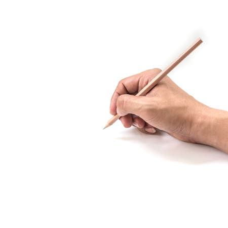 writ: human hands with pencil and writ ting something Foto de archivo
