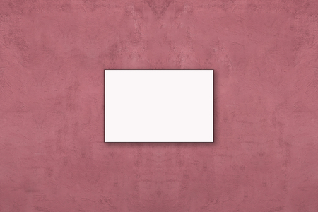 pink wall paper: Blank folded paper poster hanging on old pink wall, you can put your message.