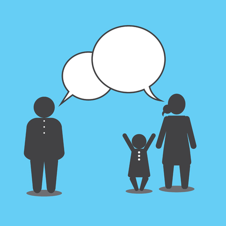 social issues: Famiglia parlando. La disputa del padre e la madre sono questioni sociali.