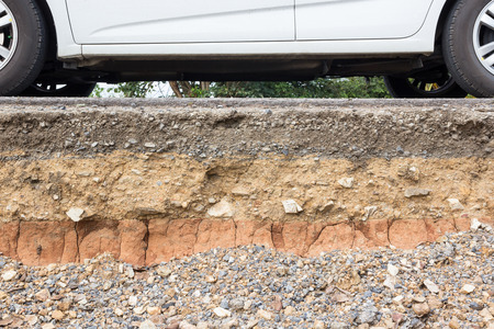 soil: Canyon road. Condition of the road to water erosion as the cliff