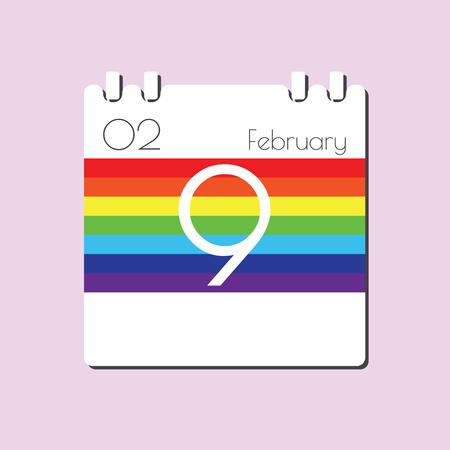 feb: Rainbow Calendar icon - Feb 9 Illustration