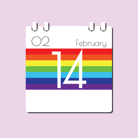 14 feb: Rainbow Calendar icon - Feb 14 Illustration