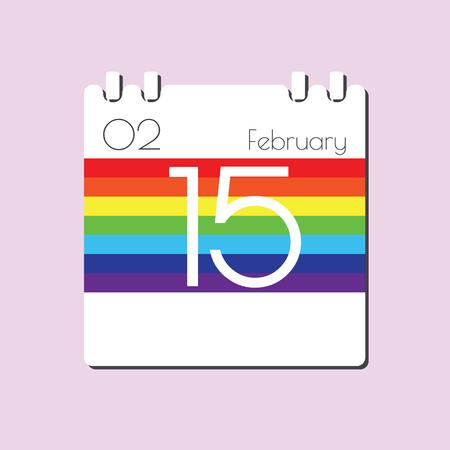 feb: Rainbow Calendar icon - Feb 15 Illustration