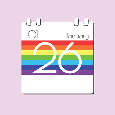jan: Rainbow Calendar icon - Jan 26