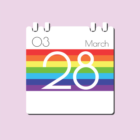 28: Rainbow Calendar icon - Mar 28
