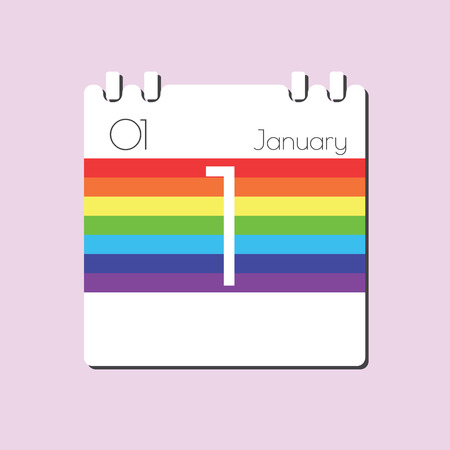 jan: Rainbow Calendar icon - Jan 1