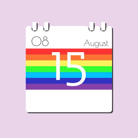 aug: Rainbow Calendar icon - Aug 15