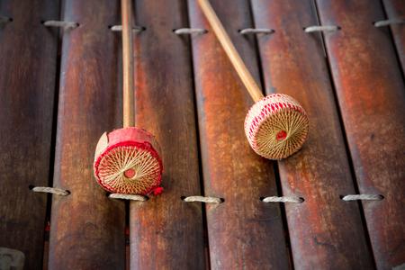 tuneful: thai alto xylophone asia music instrument- vintage tone Stock Photo