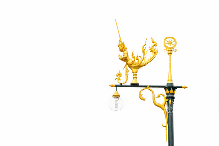 gold color: Pole swan gold color stand on white