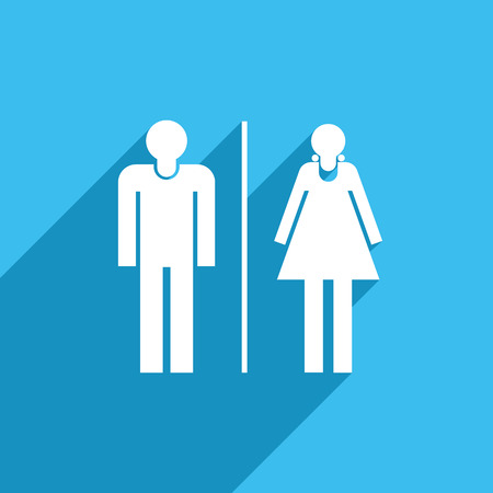 blue signage: Male and female toilet or restroom sign icon.