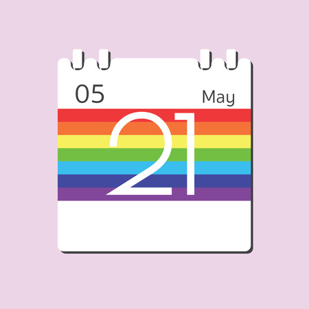 21: Rainbow Calendar icon - May 21 Illustration