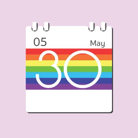 30: Rainbow Calendar icon - May 30 Illustration