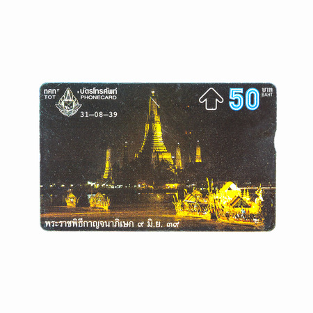 Thailand - August 31, 1995 :  Picture of The Fiftieth Anniversary Golden Jubilee Celebrations of His Majestys Accession to the Throne.Thailand telephone card. Very popular nearly 20 years ago. Current deprecated