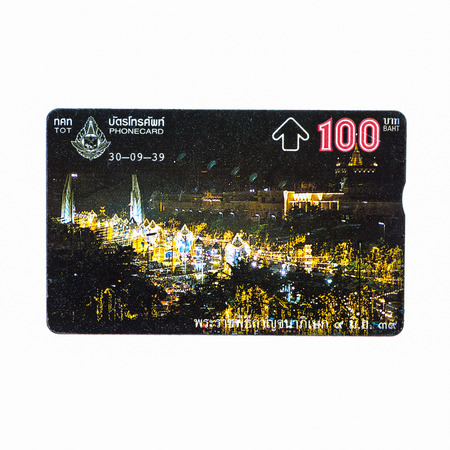 Thailand - September 30, 1995 :  Picture of The Fiftieth Anniversary Golden Jubilee Celebrations of His Majestys Accession to the Throne.Thailand telephone card. Very popular nearly 20 years ago. Current deprecated