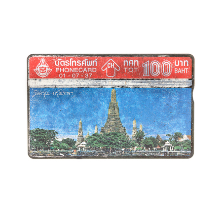 deprecated: Thailand - July 1, 1993 : Thailand telephone card picture of Wat Arun. Very popular nearly 20 years ago. Current deprecated Editorial