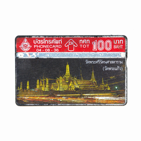 deprecated: Thailand - August 8, 1992 : Thailand telephone card picture of Wat Phra Kaew. Very popular nearly 20 years ago. Current deprecated Editorial