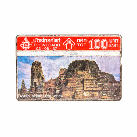 deprecated: Thailand - June 2, 1993 : Thailand telephone card picture of Wat Mahathat Ayutthaya. Very popular nearly 20 years ago. Current deprecated Editorial