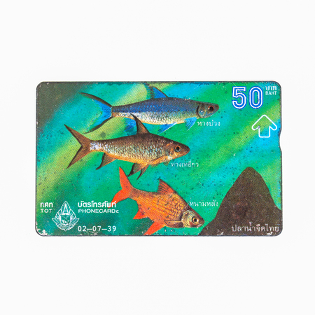 Thailand - July 2, 1995 : Thailand telephone card picture of freshwater fishes in Thailand. Very popular nearly 20 years ago. Current deprecated