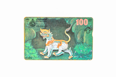 Thailand - October 20, 1997 : Thailand telephone card picture of lion. Very popular nearly 20 years ago. Current deprecated