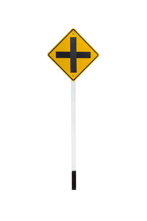 heed: intersection traffic sign isolated on white background