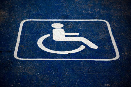 road marking: Grunge road marking for disabled and invalid parking