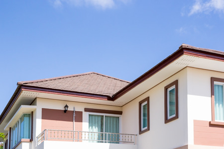 house roof: house roof, sunny blue sky background Stock Photo