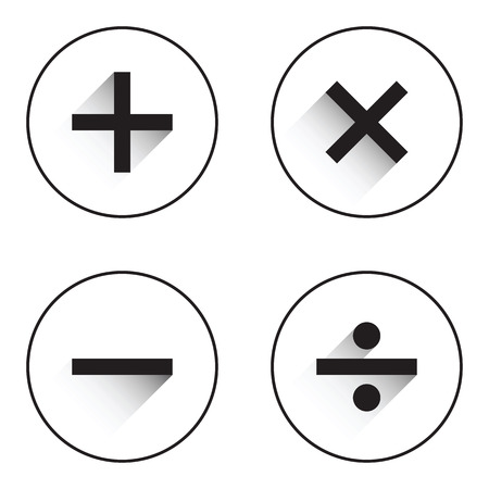 basic: Basic Mathematical symbols on white background