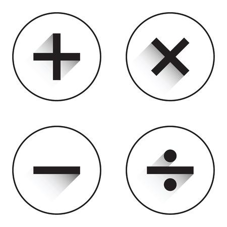 Symboles de base mathématiques sur fond blanc