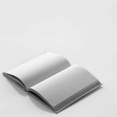 bookish: Opened book with blank pages. Black and white color style.