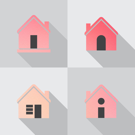 Color house icon on grey background. Stock Photo