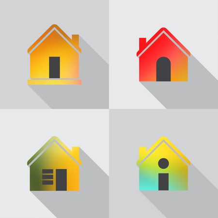 GRADIANT: Color house icon on grey background. Stock Photo