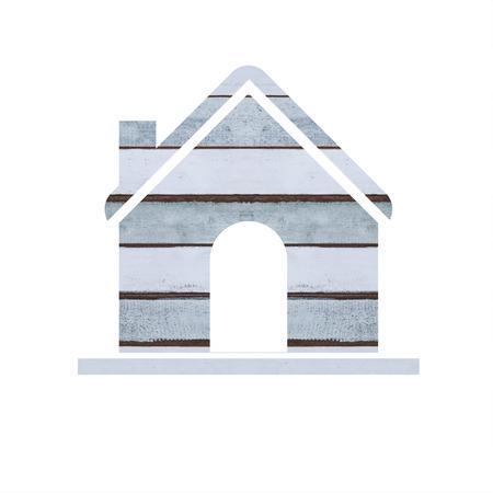 wood house: Wood house icon on white background. Stock Photo