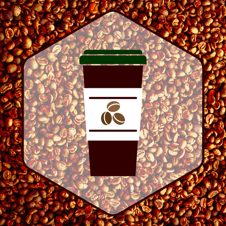coffee beans background: Coffee icon on coffee beans background.