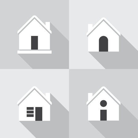 simplus: House flat icon set on grey background.