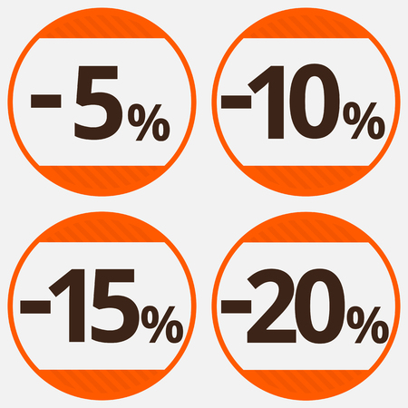 15 20: Sale, discount labels. Special offer price signs. 5, 10, 15 and 20 percent off reduction symbols. Illustration