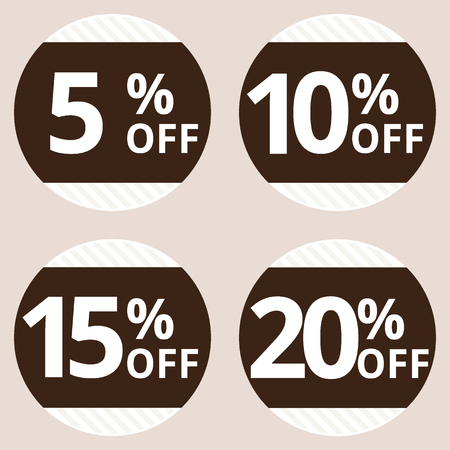 reduction: Sale, discount labels. Special offer price signs. 5, 10, 15 and 20 percent off reduction symbols. Illustration