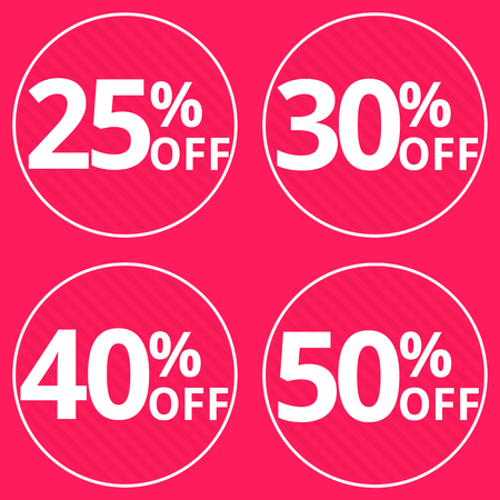 25 30: Sale, discount labels. Special offer price signs. 25, 30, 45 and 50 percent off reduction symbols.
