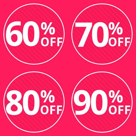 price reduction: Sale, discount labels. Special offer price signs. 60, 70, 80 and 90 percent off reduction symbols.