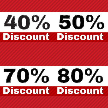 40 50: Sale, discount labels. Special offer price signs. 40, 50, 70 and 80 percent off reduction symbols.