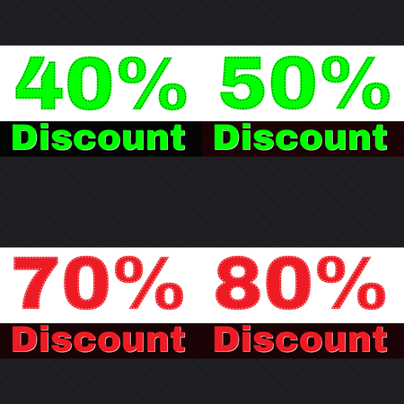 70 80: Sale, discount labels. Special offer price signs. 40, 50, 70 and 80 percent off reduction symbols.