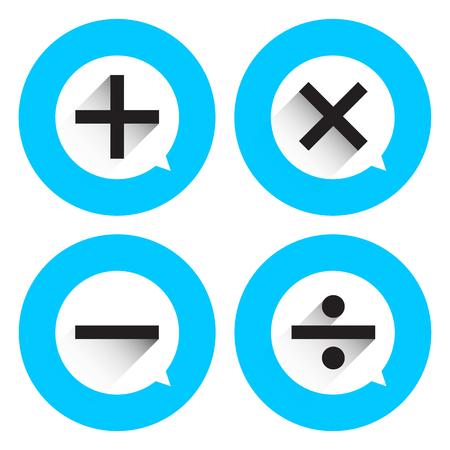 basic: Basic Mathematical symbols on white bubble and blue circle background Illustration