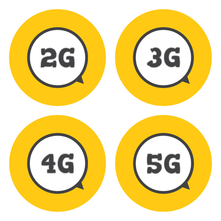 3g: Technology icon 2G, 3G, 4G and 5G . Mobile telecommunications icons.