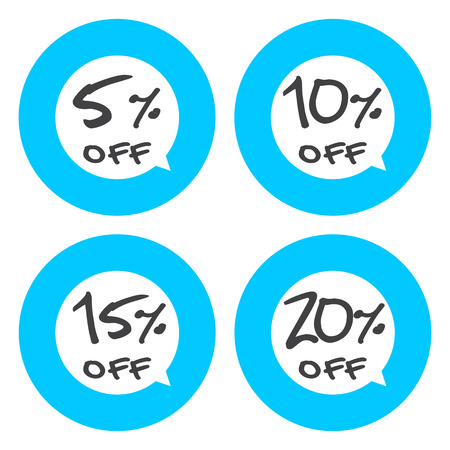 5 to 10: Sale, discount labels. Special offer price signs. 5, 10, 15 and 20 percent off reduction symbols. Illustration
