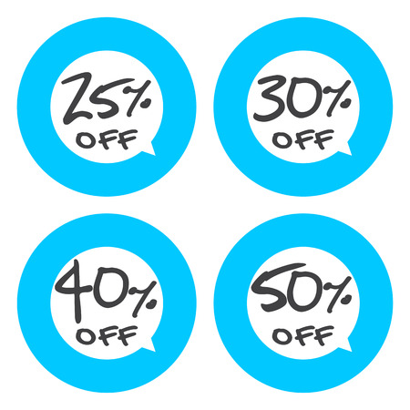 25 30: Sale, discount labels. Special offer price signs. 25, 30, 40 and 50 percent off reduction symbols. Illustration