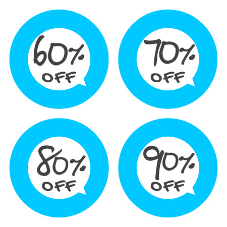 80 90: Sale, discount labels. Special offer price signs. 60, 70, 80 and 90 percent off reduction symbols.