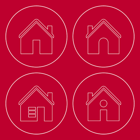 simplus: House icon set on red background.