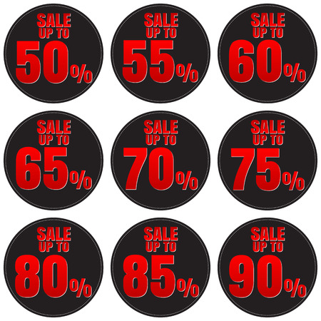 75 80: Sale, discount labels. Special offer price signs. 50, 55, 60, 65, 70, 75, 80, 85 and 90 percent off reduction symbols.
