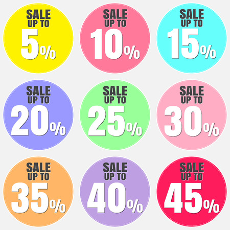 40 45: Sale, discount labels. Special offer price signs. 5, 10, 15, 20, 25, 30, 35, 40 and 45 percent off reduction symbols. Illustration