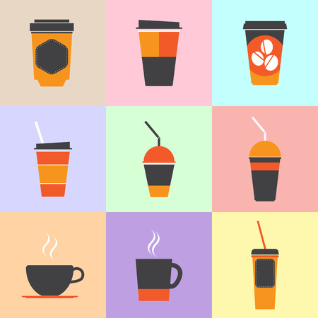 ice tea: Coffee cup and Tea cup icon set.