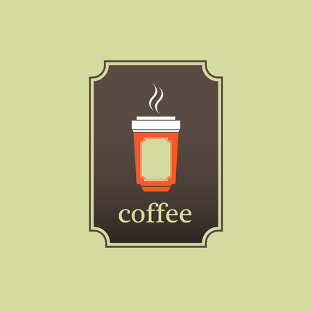 ice tea: Coffee cup icon on green background. Illustration